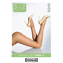 Buy Wolford Sheer 15 Tights, Pack of 3, Natural Online at johnlewis.com