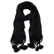 Buy Mint Velvet Crochet Scarf, Black Online at johnlewis.com