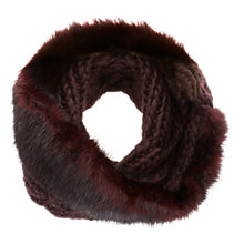 Buy Mint Velvet Faux Fur Knit Snood, Wine Online at johnlewis.com