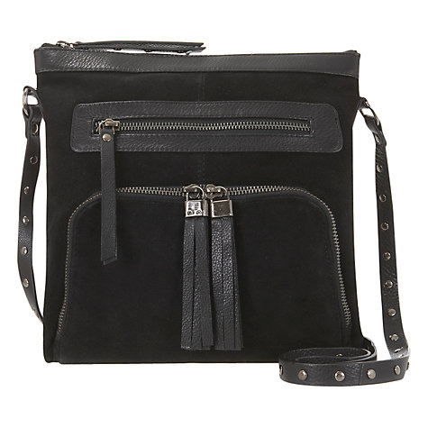 Buy Mint Velvet Suede & Leather Cross Body Bag, Black Online at johnlewis.com