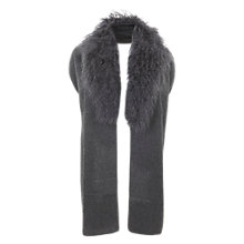 Buy Mint Velvet Mongolian Fur Scarf, Charcoal Online at johnlewis.com