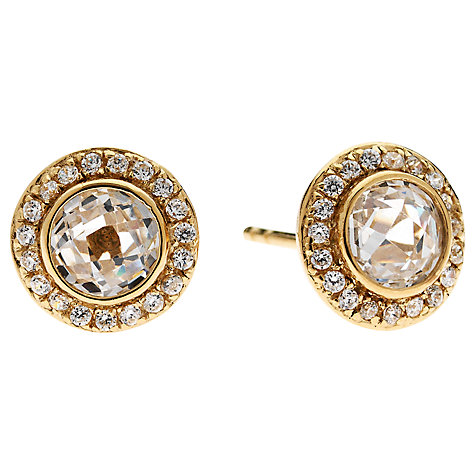 Buy Jou Jou Cubic Zirconia Sterling Silver Round Surround Earrings Online at johnlewis.com