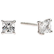 Buy Jou Jou Cubic Zirconia Sterling Silver Square Stud Earrings Online at johnlewis.com