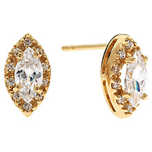Buy Jou Jou Cubic Zirconia Sterling Silver Navette Surround Earrings, Yellow Gold Online at johnlewis.com