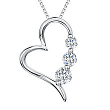 Buy Jools by Jenny Brown Rhodium Plated Silver Cubic Zirconia Modern Heart Shaped Pendant Online at johnlewis.com