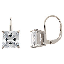 Buy Jou Jou Cubic Zirconia Sterling Silver Square Leverback Earrings Online at johnlewis.com