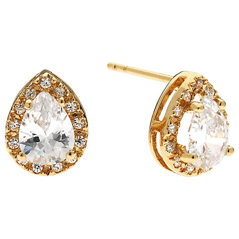 Buy Jou Jou Cubic Zirconia Sterling Silver Teardrop Surround Stud Earrings, Yellow Gold Online at johnlewis.com
