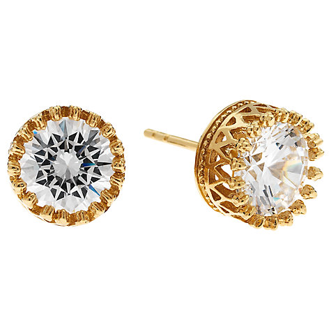 Buy Jou Jou  Gold Plated Sterling Silver Cubic Zirconia Stud Earrings Online at johnlewis.com