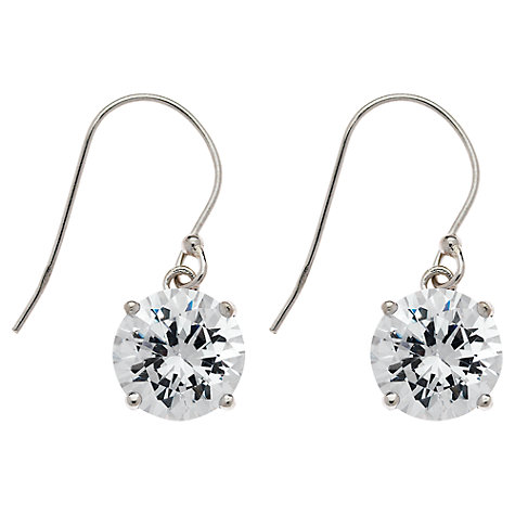 Buy Jou Jou Cubic Zirconia Sterling Silver Hook Drop Earrings, Silver Online at johnlewis.com