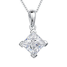 Buy Jools by Jenny Brown Rhodium Plated Silver Cubic Zirconia Drop Square Pendant Online at johnlewis.com