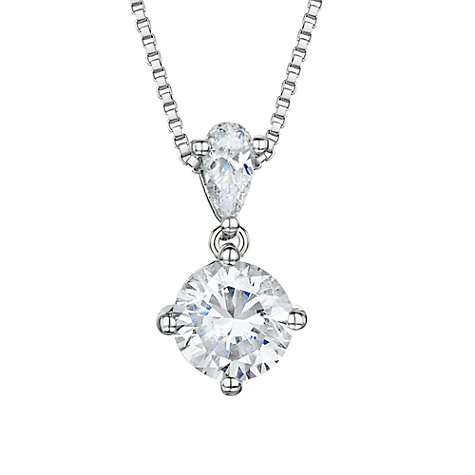 Buy Jools by Jenny Brown Round Solitaire Cubic Zirconia Pendant Necklace, Silver Online at johnlewis.com