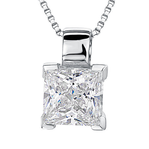 Buy Jools by Jenny Brown Small Square Cut Cubic Zirconia Pendant Necklace, Silver Online at johnlewis.com