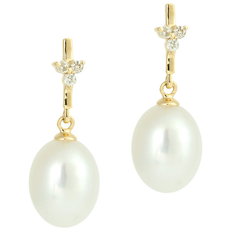 Buy Kojis 18ct Yellow Gold Freshwater Pearl 0.10ct Diamond Cluster Bar Drop Earrings Online at johnlewis.com