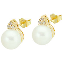 Buy Kojis 18ct Yellow Gold Freshwater Pearl 0.12ct Diamond Cluster Stud Earrings Online at johnlewis.com