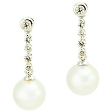Buy Kojis 18ct White Gold Freshwater Pearl 0.30ct Diamond Drop Earrings Online at johnlewis.com