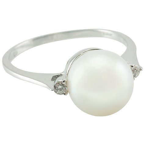 Buy Kojis 18ct White Gold Freshwater Pearl 0.01ct Diamond Ring, Size M Online at johnlewis.com