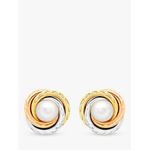 Buy IBB 9ct Gold Triple Tone Pearl Swirl Stud Earrings, Gold Online at johnlewis.com