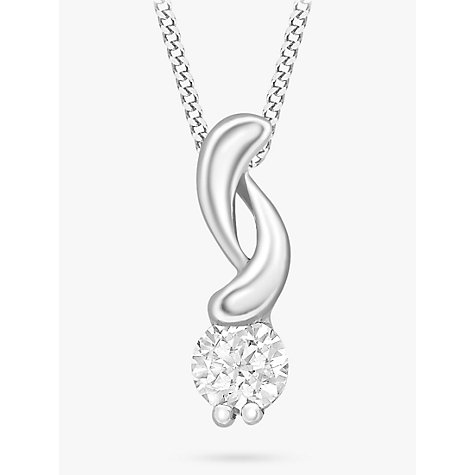 Buy 9ct White Gold Cubic Zirconia Swirl Pendant Online at johnlewis.com