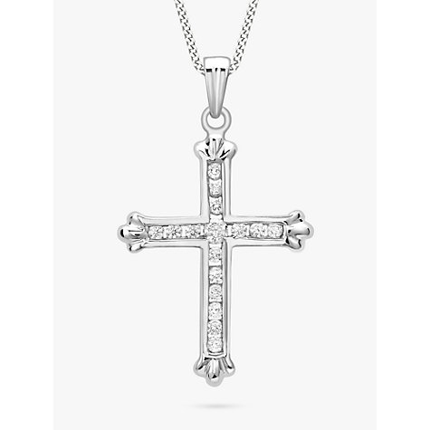 Buy 9ct White Gold Cubic Zirconia Cross Pendant Online at johnlewis.com