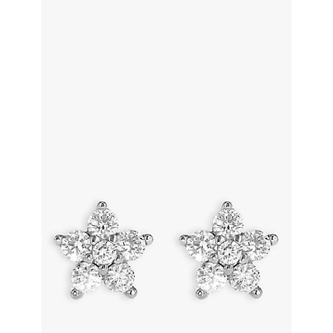 Buy IBB 9ct White Gold Cubic Zirconia Flower Stud Earrings, Silver Online at johnlewis.com