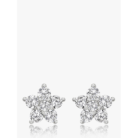 Buy 9ct White Gold Cubic Zirconia Flower Stud Earrings Online at johnlewis.com