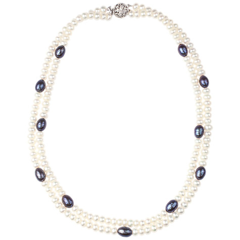 Buy A B Davis Sterling Silver Two Row Black And White Freshwater Pearl Necklace Online at johnlewis.com