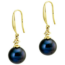 Buy Kojis 18ct Yellow Gold Freshwater Pearl 0.03ct Diamond Fish-Hook Earrings Online at johnlewis.com