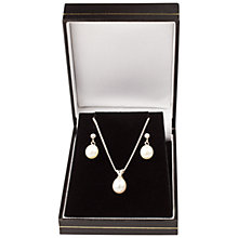 Buy A B Davis 9ct White Gold Freshwater Pearl Earrings And Pendant Gift Set Online at johnlewis.com