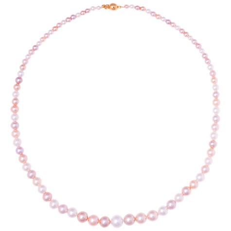 Buy Kojis 18ct Gold Graduated Freshwater Pearl Necklace, Pink / White Online at johnlewis.com
