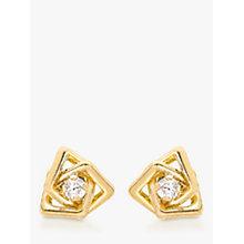 Buy 9ct Yellow Gold Cubic Zirconia Triple Square Stud Earrings Online at johnlewis.com