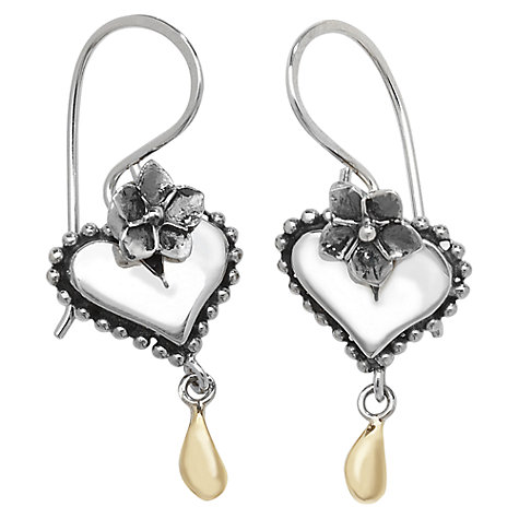 Buy Linda Macdonald Heart Sterling Silver And 9ct Gold Drop Earrings Online at johnlewis.com