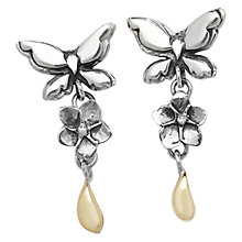 Buy Linda Macdonald Butterfly Sterling Silver And 9ct Gold Drop Earrings Online at johnlewis.com