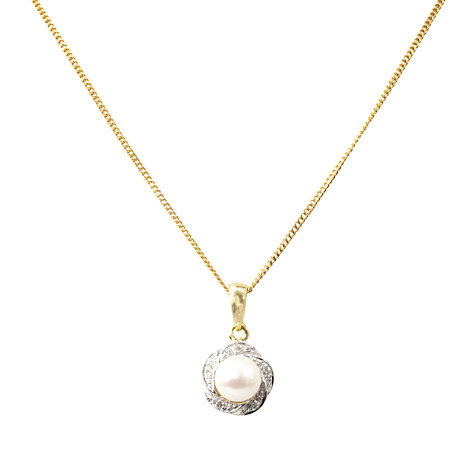 Buy A B Davis 9ct Gold Diamond Swirl Surround Pearl Pendant Necklace Online at johnlewis.com