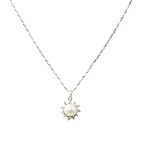 Buy A B Davis White Gold Diamond And Pearl Pendant Necklace Online at johnlewis.com