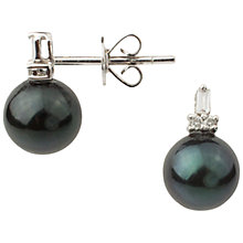 Buy A B Davis 9ct White Gold Diamond Cultured Pearl Stud Earrings, Black Online at johnlewis.com