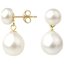 Buy A B Davis 9ct Gold Freshwater Pearl Double Drop Earrings Online at johnlewis.com