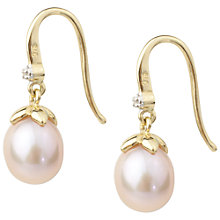 Buy A B Davis 9ct Gold Pearl and Diamond Shepherd Hook Earrings, Pink Online at johnlewis.com