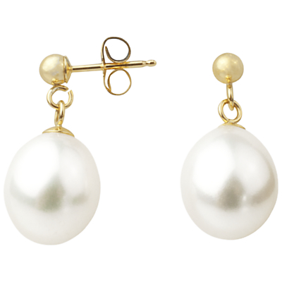 A B Davis 9ct Gold Freshwater Pearl Drop Earrings.
