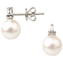 Buy A B Davis 9ct White Gold Diamond Cultured Pearl Stud Earrings, White Online at johnlewis.com