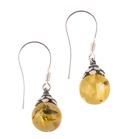 Buy Be-Jewelled Sterling Silver Amber Leaf Mount Drop Earrings Online at johnlewis.com