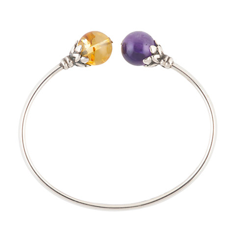 Buy Be-Jewelled Sterling Silver Amber And Amethyst Torque Bangle Online at johnlewis.com