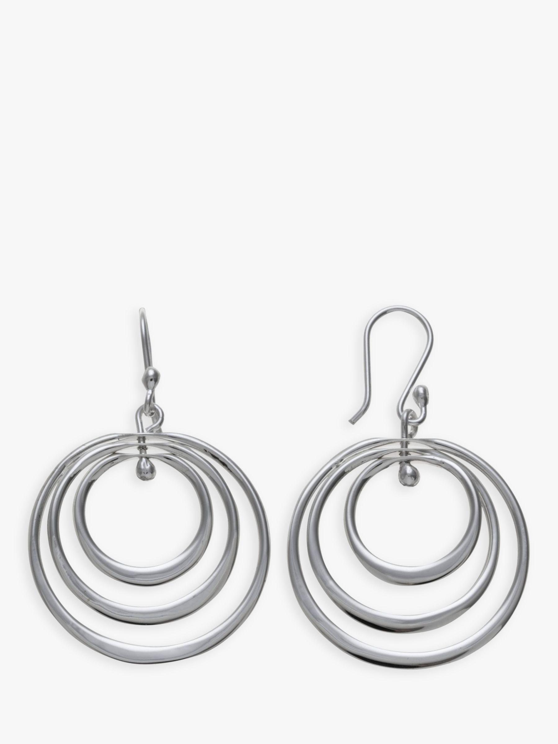 Andea Andea Sterling Silver Spinning Hoop Drop Earrings, Silver