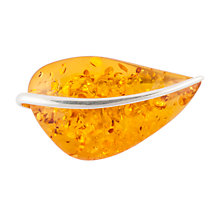 Buy Be-Jewelled Sterling Silver Amber Leaf Shape Brooch Online at johnlewis.com