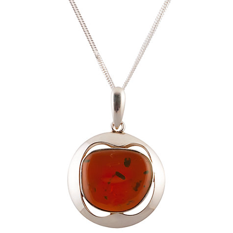 Buy Be-Jewelled Sterling Silver Baltic Amber Pendant Necklace Online at johnlewis.com