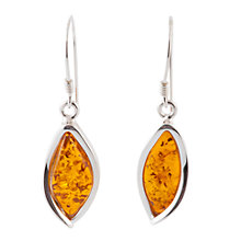 Buy Be-Jewelled Sterling Silver Amber Marquise Drop Earrings Online at johnlewis.com