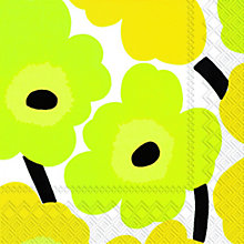 Buy Marimekko Flower Lunch Paper Napkins, Yellow, Pack Of 20 Online at johnlewis.com