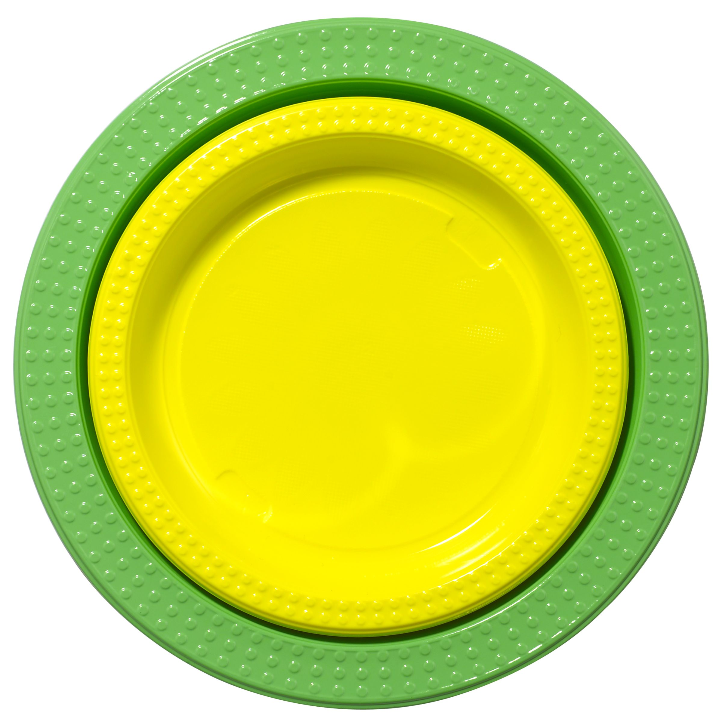 Duni Plastic Plates, Blue, Pack Of 20, Green/Yellow