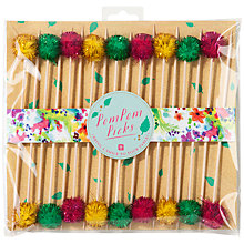 Buy Talking Tables Floral Fiesta Pom Pom Toothpicks, Multi, Pack Of 18 Online at johnlewis.com
