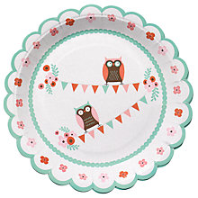 Buy Ginger Ray Patchwork Owl Plates, Multi, Pack Of 8 Online at johnlewis.com