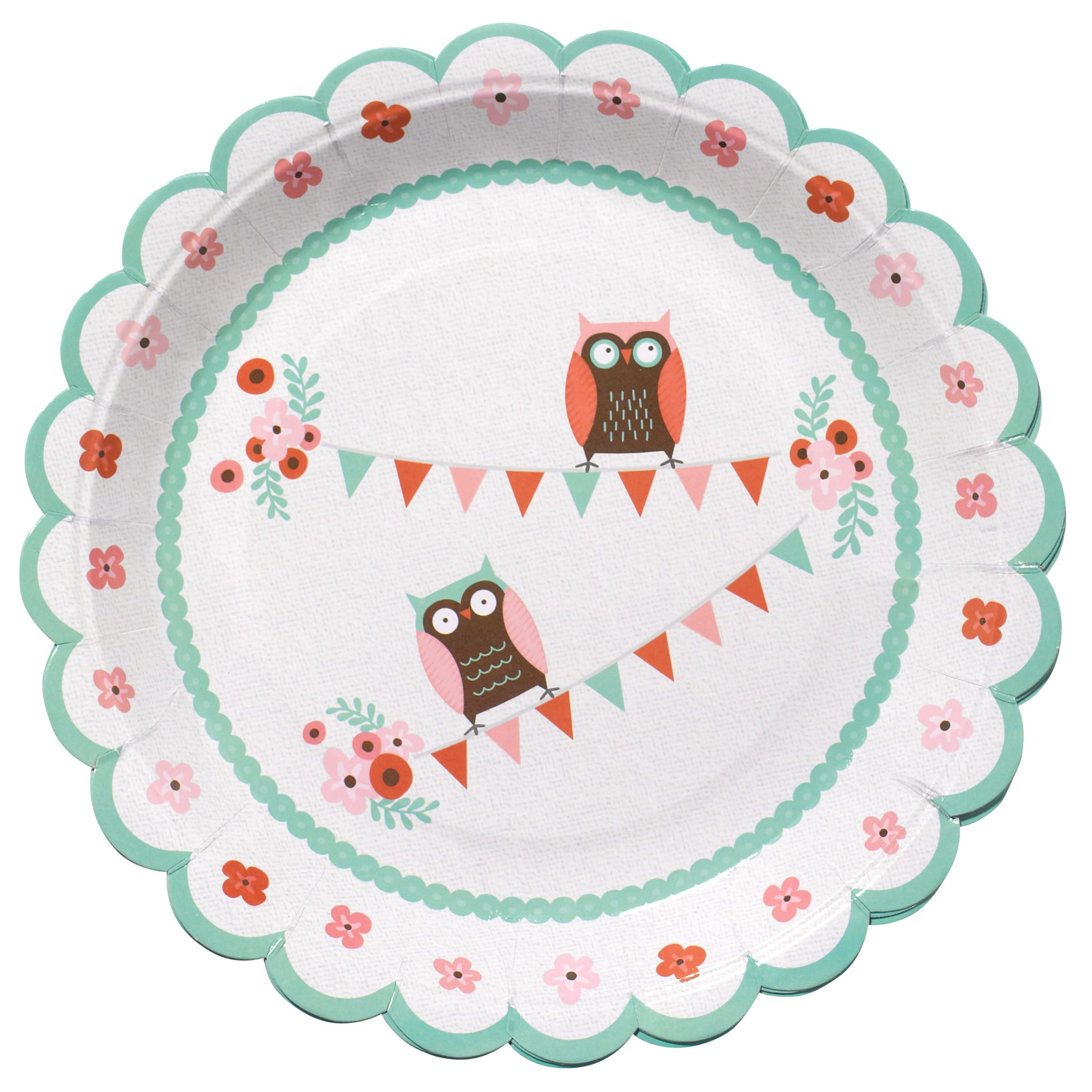 Ginger Ray Patchwork Owl Plates, Multi, Pack Of 8